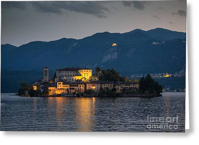 People Greeting Cards - View of the island of San Giulio in Lake Orta Greeting Card by Frank Bach