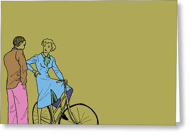 Cute Sexy Greeting Cards - Vintage Bike Couple Greeting Card by Karl Addison