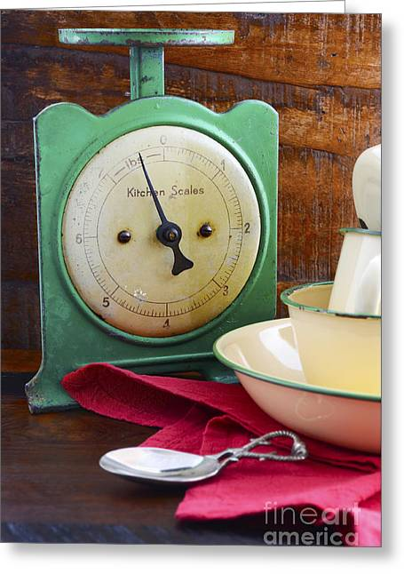 Tabletop Greeting Cards - Vintage kitchen scales and tin cups and pans Greeting Card by Milleflore Images