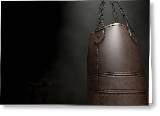 Vintage Leather Punching Bag Greeting Card by Allan Swart