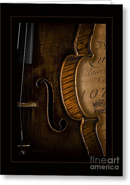 Overture Greeting Cards - Vintage Violin With Antique Mozart Sheet Music Greeting Card by John Stephens