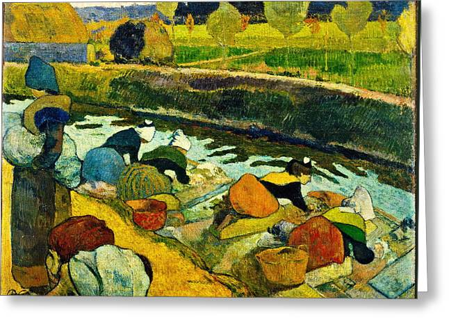 Gauguin Style Greeting Cards - Washerwomen Greeting Card by Paul Gauguin