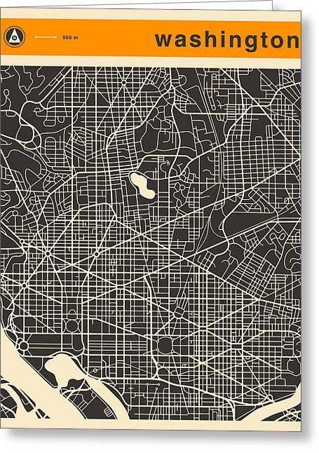 Washington D.c. Digital Greeting Cards - Washington Dc Map Greeting Card by Jazzberry Blue