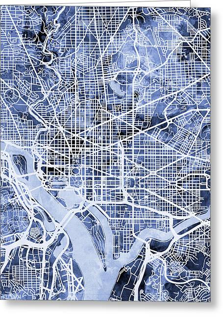 Streets Greeting Cards - Washington DC Street Map Greeting Card by Michael Tompsett