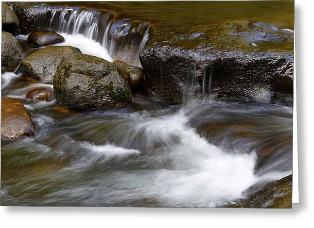Beautiful Creek Photographs Greeting Cards - Water flow Greeting Card by Les Cunliffe