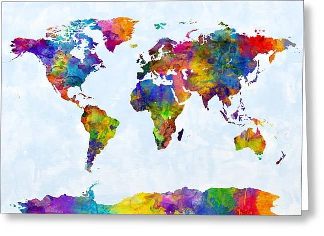 Watercolor Map Of The World Map Greeting Card by Michael Tompsett