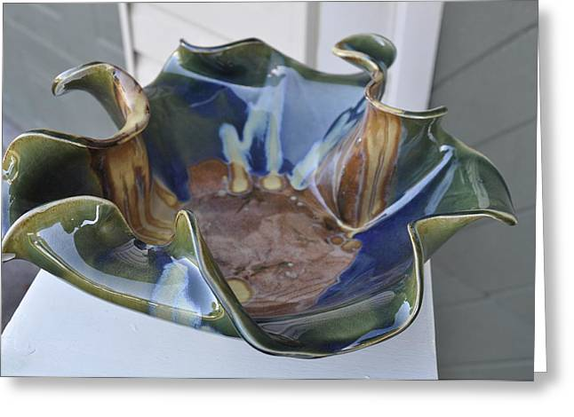 Waves Ceramics Greeting Cards - Wave Bowl Greeting Card by Gibbs Baum