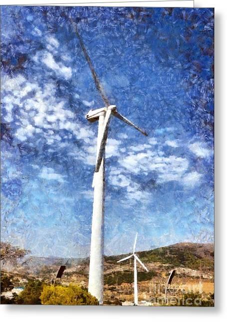 Wind Turbines Greeting Card by George Atsametakis