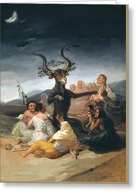 Witches Sabbath Greeting Card by Francisco Goya