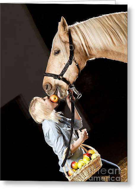 Horse Owner Greeting Cards - Woman and horse with apples Greeting Card by Wolfgang Steiner