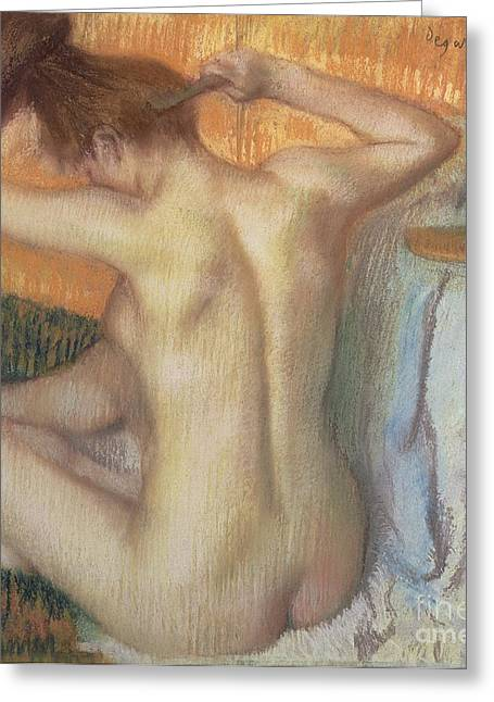 Figures Pastels Greeting Cards - Woman combing her hair Greeting Card by Edgar Degas