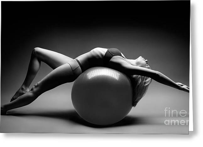 Women Sports Greeting Cards - Woman on a Ball Greeting Card by Oleksiy Maksymenko