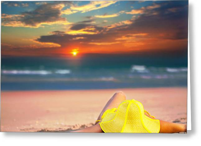 Woman On The Beach Greeting Card by MotHaiBaPhoto Prints