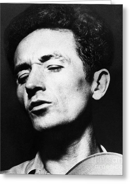 Folk Singers Greeting Cards - Woody Guthrie (1912-1967) Greeting Card by Granger
