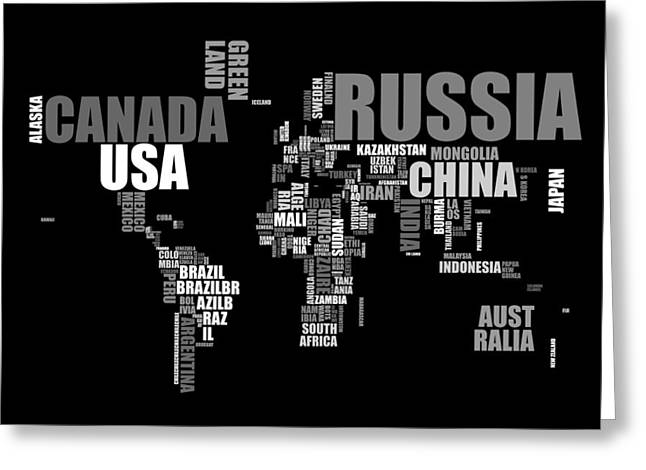 World Map in Words Greeting Card by Michael Tompsett