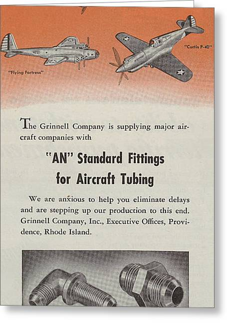 Jet Airplane Greeting Cards - World War II Advertisement Greeting Card by American School