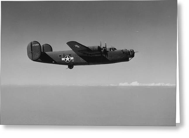 Gray Sky Greeting Cards - WWII US Aircraft In Flight Greeting Card by American School