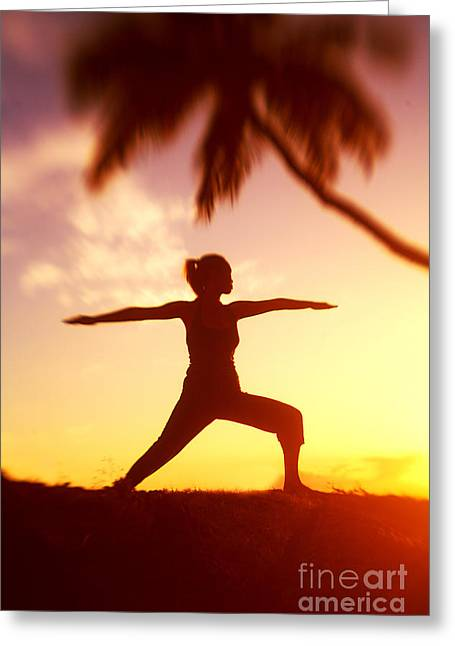 Concentration Greeting Cards - Yoga At Sunset Greeting Card by Ron Dahlquist - Printscapes