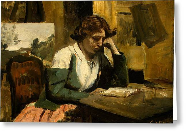 Young Girl Reading Greeting Card by Jean-Baptiste-Camille Corot