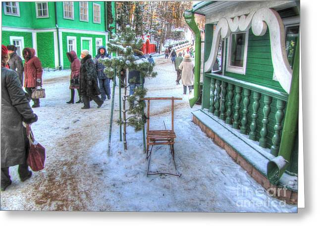 People Pyrography Greeting Cards - YURY BASHKIN winter Russia Greeting Card by Yury Bashkin