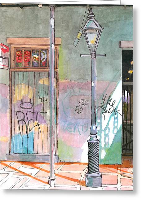 New Pastels Greeting Cards - 30  French Quarter Graffiti  Greeting Card by John Boles