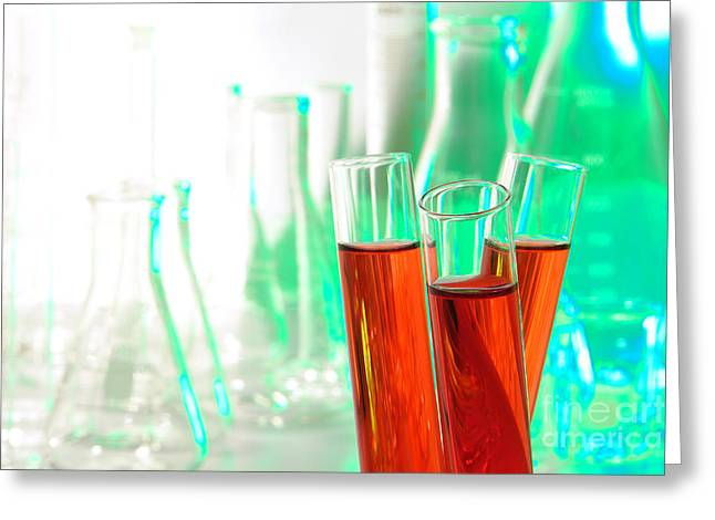 Red Blood Greeting Cards - Laboratory Test Tubes in Science Research Lab Greeting Card by Olivier Le Queinec