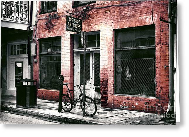 French Bicycle Shop Greeting Cards - 305 Antique Shop Fusion Greeting Card by John Rizzuto