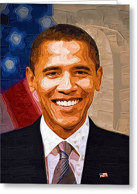 Barack Greeting Cards - Barack Obama Portrait Greeting Card by Victor Gladkiy