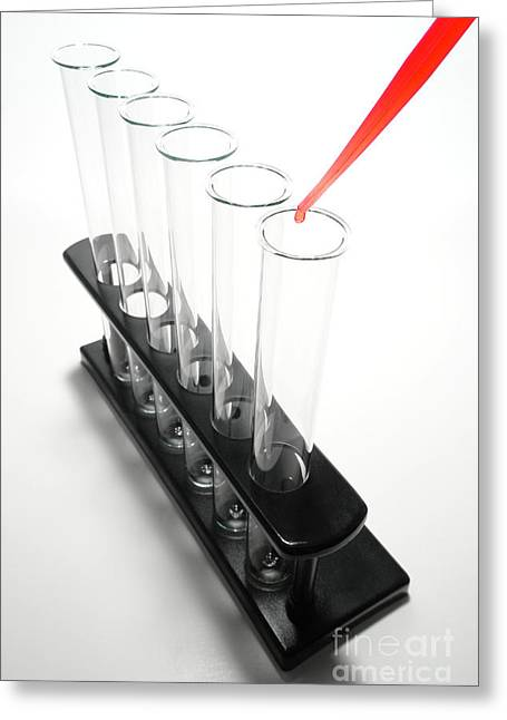 Rack Greeting Cards - Laboratory Experiment in Science Research Lab Greeting Card by Olivier Le Queinec