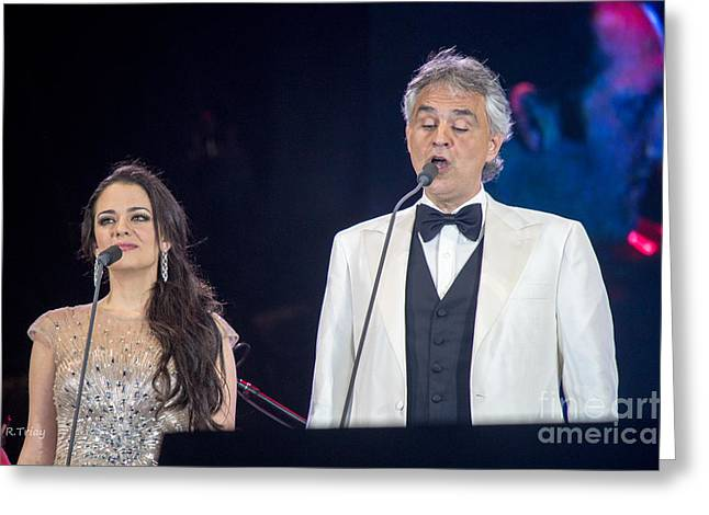 Camelot Greeting Cards - Andrea Bocelli in Concert Greeting Card by Rene Triay Photography