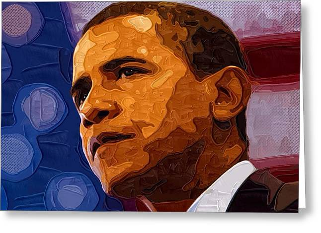 Barack Obama Prints Greeting Cards - Barack Obama Portrait Greeting Card by Victor Gladkiy