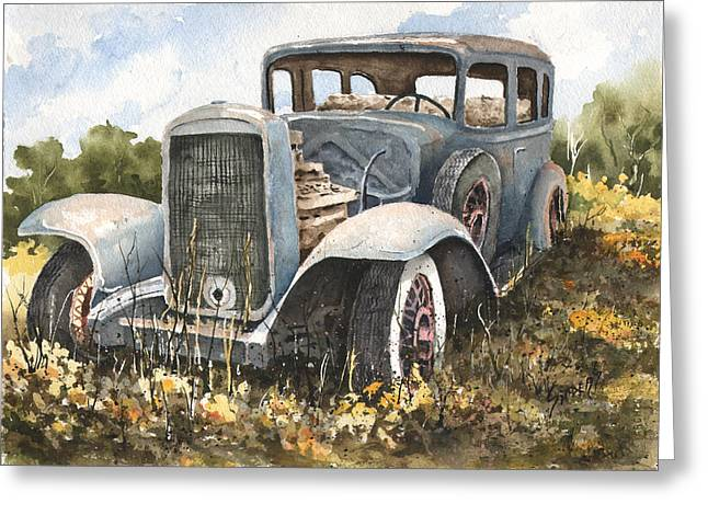 32 Buick Greeting Card by Sam Sidders