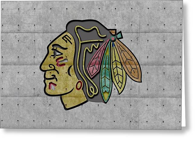 Ice-skating Greeting Cards - Chicago Blackhawks Greeting Card by Joe Hamilton