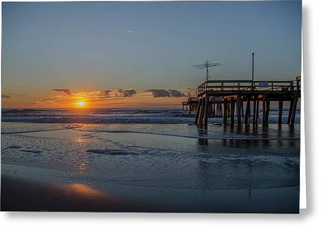 32nd Street Pier Avalon Nj - Sunrise Greeting Card by Bill Cannon