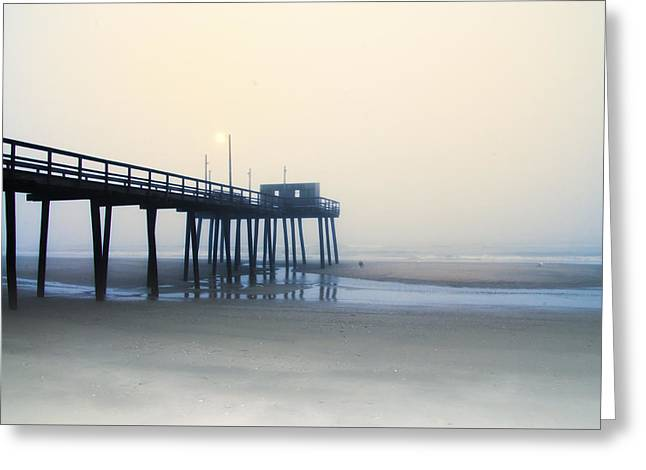 Foggy Ocean Greeting Cards - 32nd Street Pier in the Fog Greeting Card by Bill Cannon