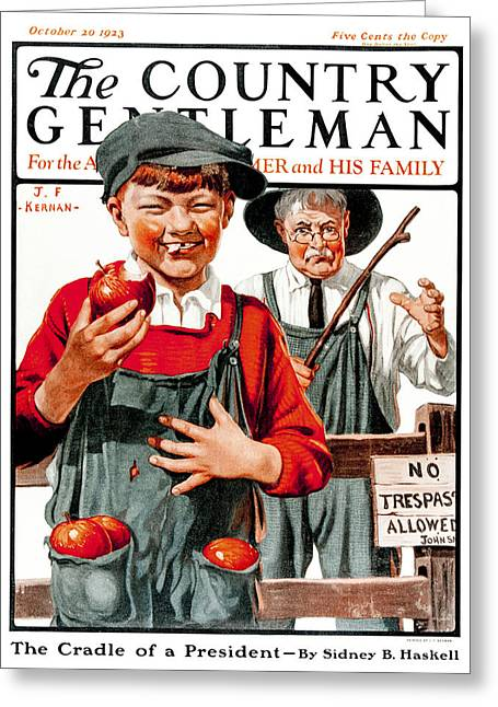 Disobeying Greeting Cards - Cover Of Country Gentleman Agricultural Greeting Card by Remsberg Inc