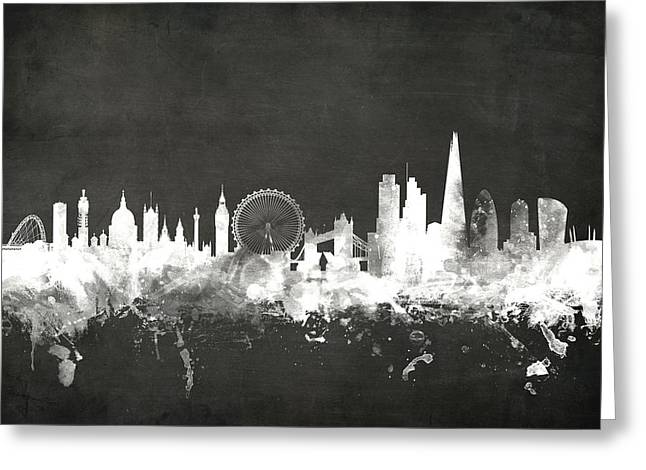 Recently Sold -  - Printed Greeting Cards - London England Skyline Greeting Card by Michael Tompsett