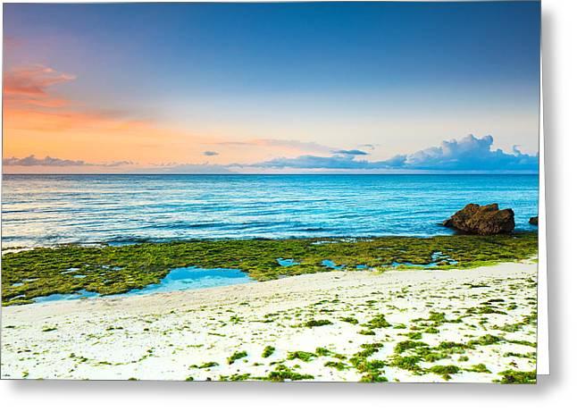 Beach Scenery Greeting Cards - Sunrise Greeting Card by MotHaiBaPhoto Prints