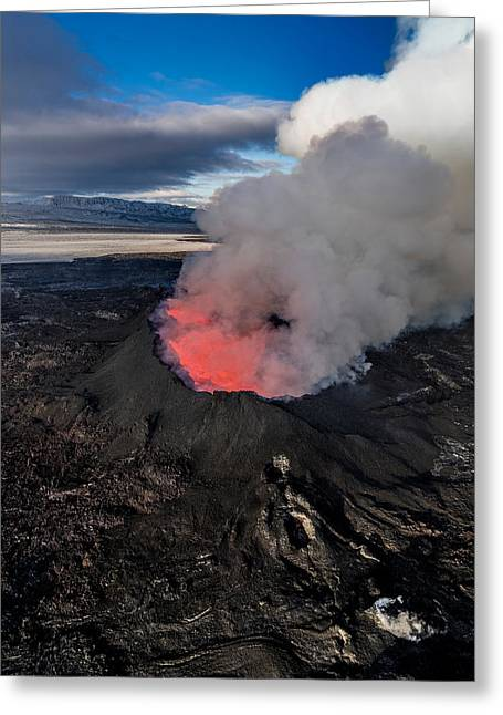 Steaming Greeting Cards - Volcano Eruption At The Holuhraun Greeting Card by Panoramic Images