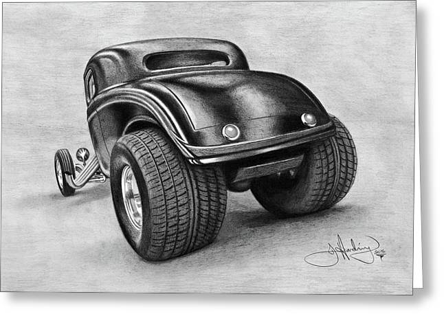 34 Ford Coupe Drawing Greeting Card by John Harding