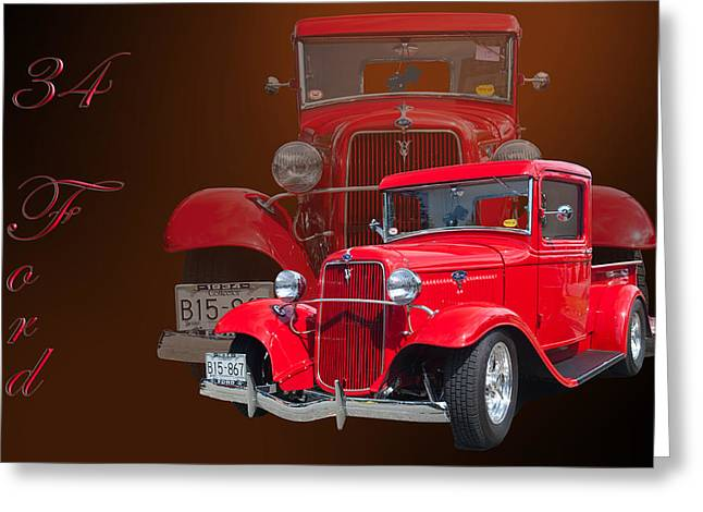 Classic Pickup Photographs Greeting Cards - 34 Ford Pick Up Greeting Card by Jim  Hatch