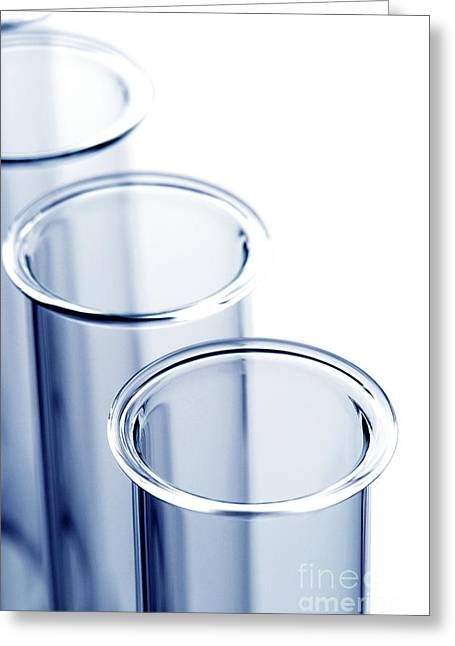 Equipment Greeting Cards - Laboratory Test Tubes in Science Research Lab Greeting Card by Olivier Le Queinec
