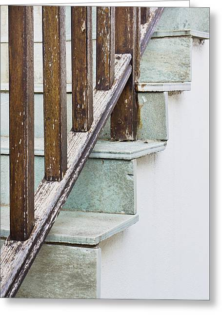 Wooden Stairs Greeting Cards - Stone steps Greeting Card by Tom Gowanlock