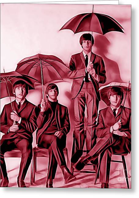 Musician Mixed Media Greeting Cards - The Beatles Collection Greeting Card by Marvin Blaine