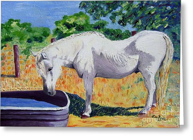 Pallet Knife Greeting Cards - 34 year Old Elfid Greeting Card by Lisa Rose Musselwhite