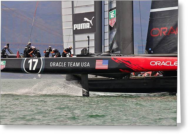Americas Cup Greeting Cards - Americas Cup Oracle Greeting Card by Steven Lapkin