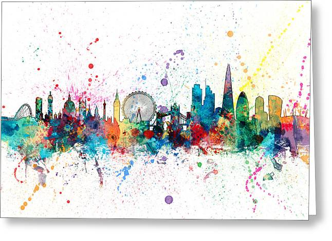 Print Digital Greeting Cards - London England Skyline Greeting Card by Michael Tompsett