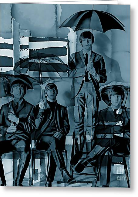 Rock N Roll Mixed Media Greeting Cards - The Beatles Collection Greeting Card by Marvin Blaine
