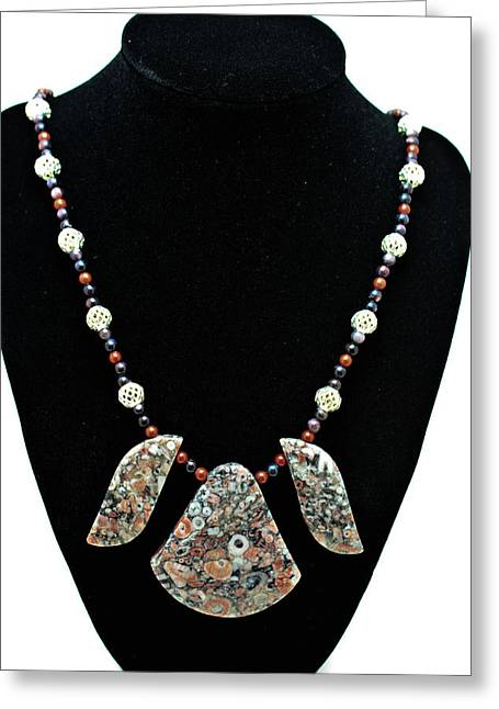 Design Jewelry Greeting Cards - 3521 Crinoid Fossil Jasper Necklace Greeting Card by Teresa Mucha