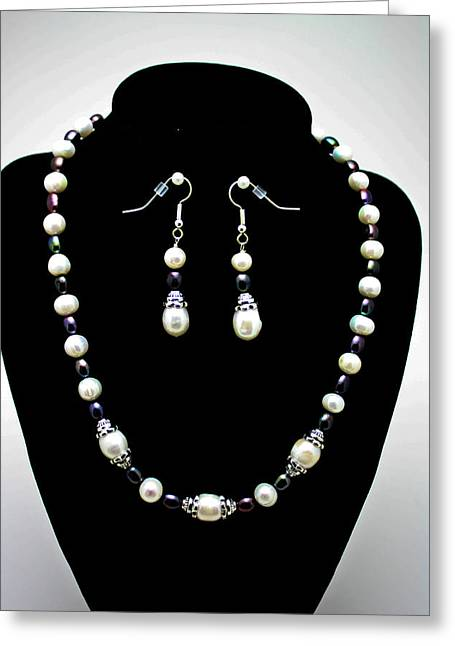 Bead Jewelry Greeting Cards - 3531 Freshwater Pearl Necklace and Earring Set Greeting Card by Teresa Mucha